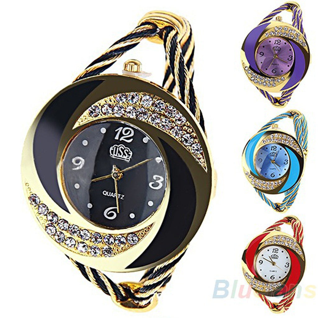Fashion Womens Round Crystal Decorated Bangle Cuff Analog Quartz Bracelet Watch