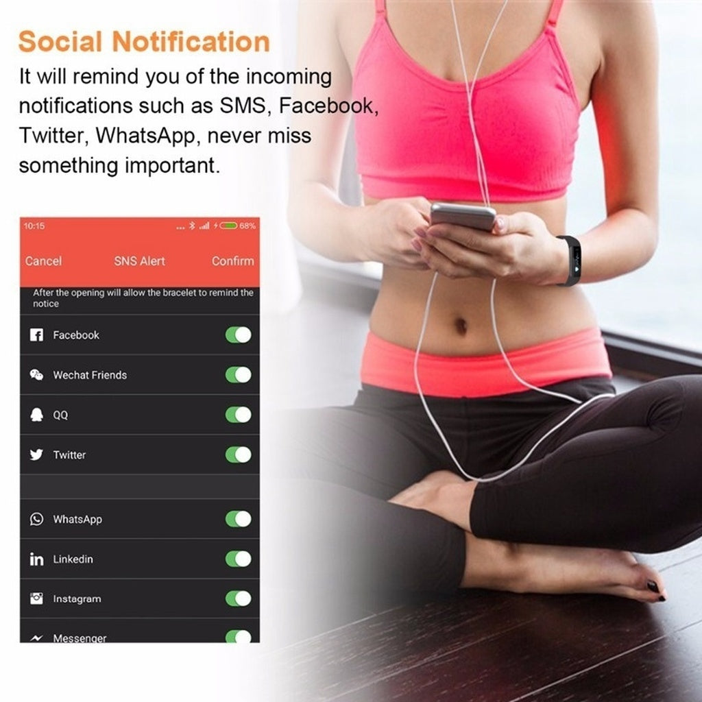 Smart Bluetooth Fitness Tracker Step Counter Alarm Clock Vibration Wristband