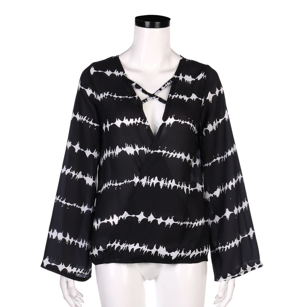 Women Loose Long Sleeve Printed Tops Chiffon Casual Blouse Amazing Good