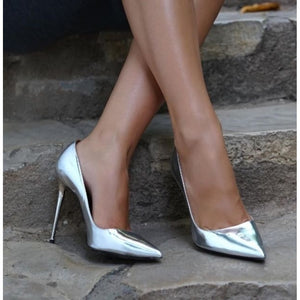 Women Fashion Pointed Toed 12 cm Stiletto High Heels Patent Leather Pumps