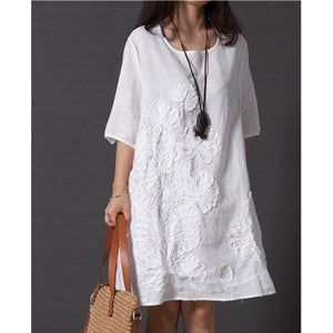 Loose Women White  Cotton Embroidered Casual Dress S- Plus Size  Shirt Style