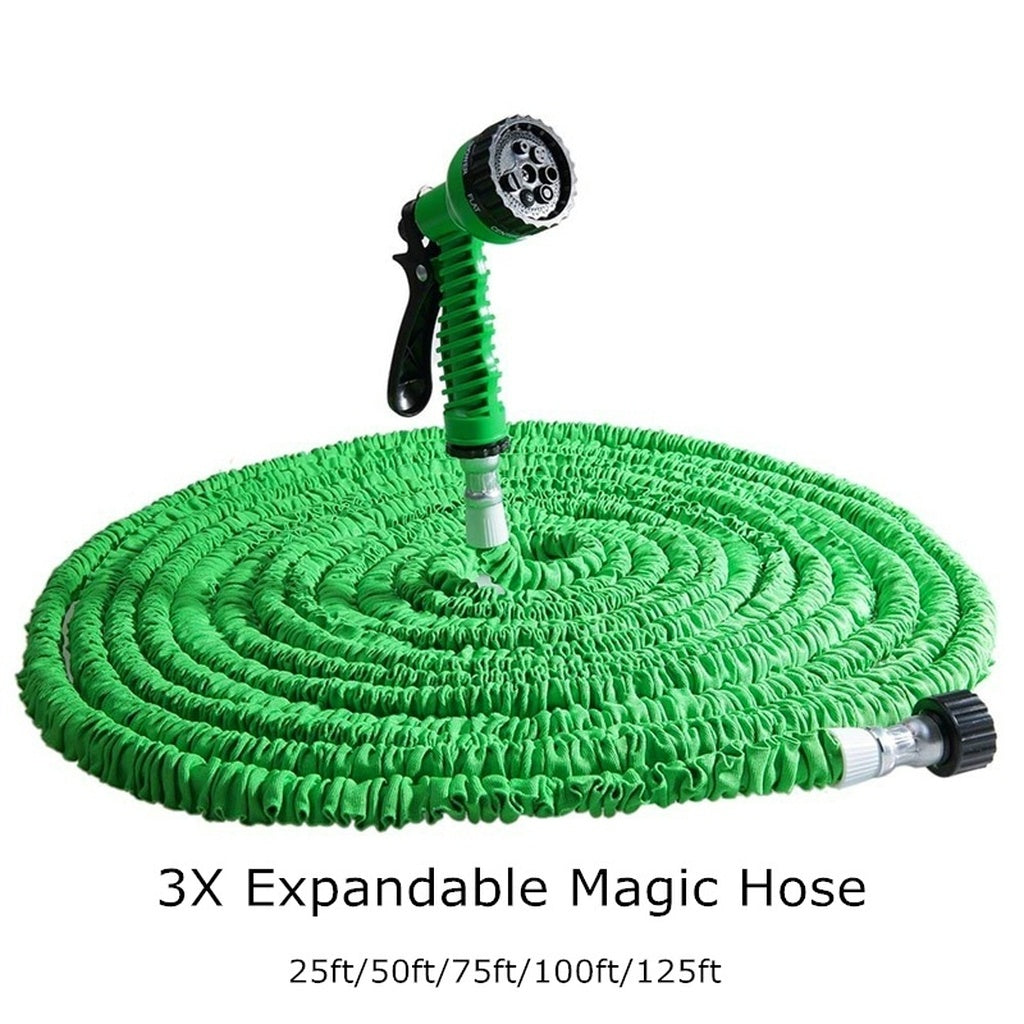25ft/50ft/75ft/100ft/125ft/150ft/175ft/200ft Expandable Garden Hose  w/ 7-in-1 Spray Gun Nozzle