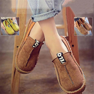 Women Comfortable Shoes Round Toe Casual Pattern Lady Flats Wide Shallow Slip-on Tendon Sole Shoes