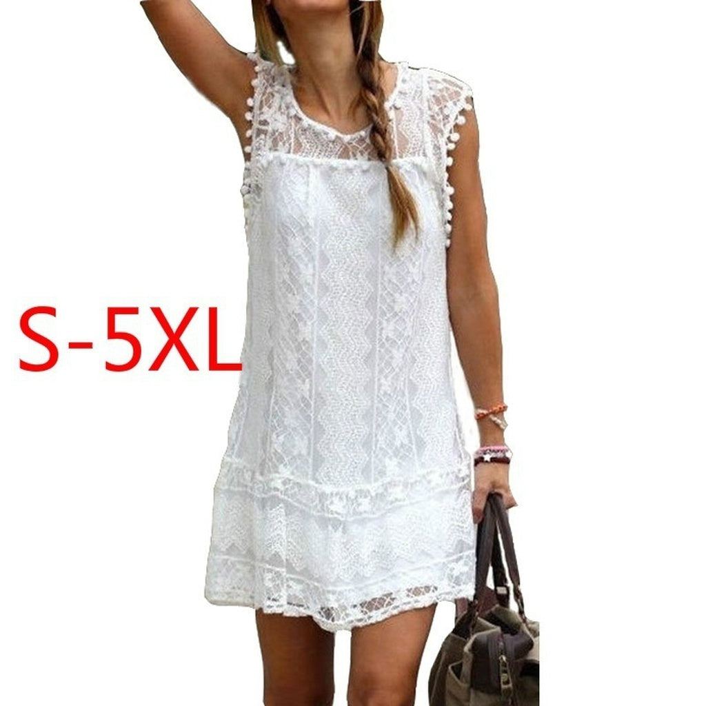 Fashion Summer Dress 2017 Sexy Women Casual Sleeveless Beach Short Dress Tassel Solid White Mini Lace Dress Vestidos Plus Size