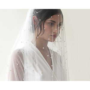 wedding Veil, Chapel length veil, train veil with pearl 4023