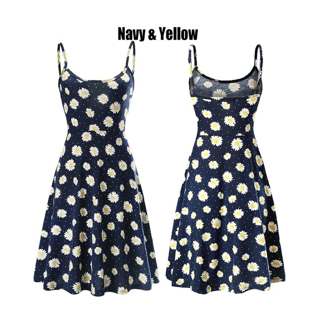 FUERFITS Women's Casual Beach Summer Sleeveless Adjustable Strappy Floral Dress