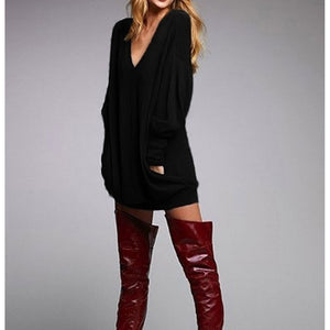 Autumn Winter Womans Fashion Fit Long Shirt Pocket Long Sleeve Casual V-neck T-shirt Skirt