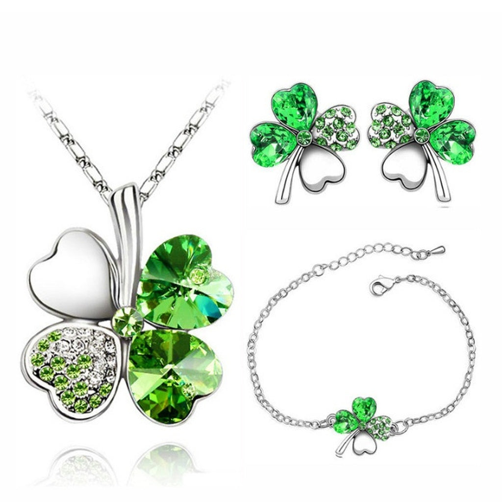 Austrian Crystal Clover Charm Floating Pendant  Necklace Earrings  & Bracelet Set