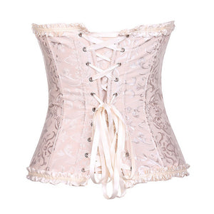 Plus Size Satin Overbust Embroidered Corset Bustier Top with G string Set Lingerie  Waist Trainer