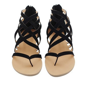 Women Fashion Flat Shoes Cross strap 2018 New Zipper Sandals