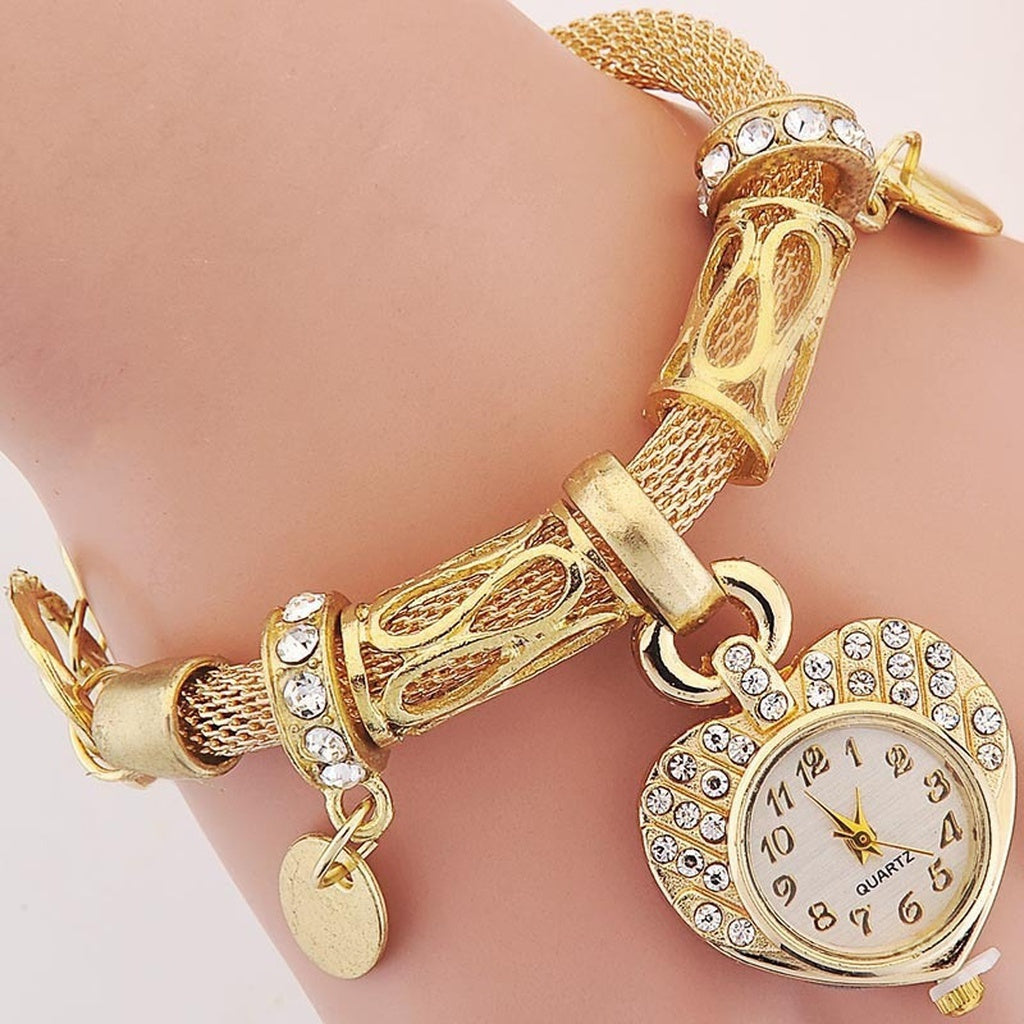 "Bracelet watches Fashion Ladies Girls Women's Watch ""love heart""Round quartz watch"