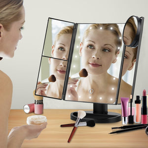 LED Touch Screen Lighted Makeup Mirror  20 /21 LEDs Adjustable Foldable