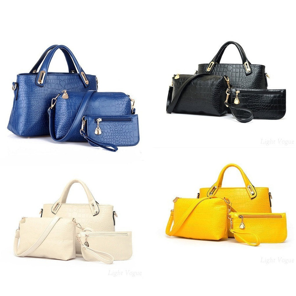 3 Pieces Women Fashion Leather Bag Shoulder Bag Set
