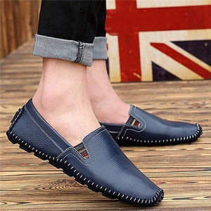 Soft Leather Men Slip-on Shoes Fashion Man's Driving Shoes (Blue, Black, Brown)