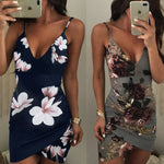 Women Party Dress Irregular Floral Print Backless Bodycon  Dresses