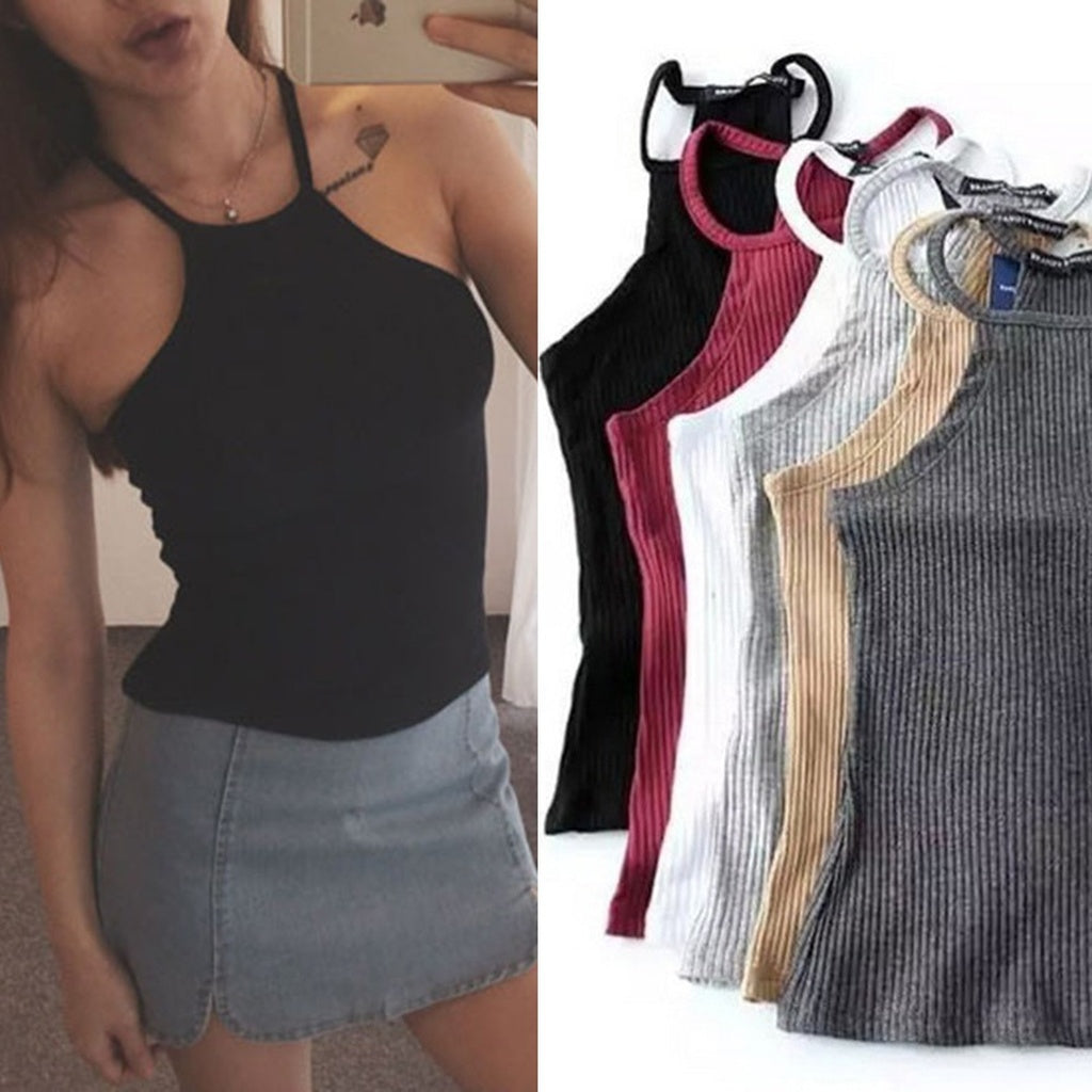 Summer Fashion Women's Tight Body Hanging Neck Knitted Vest