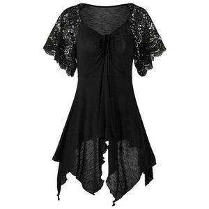Plus Size Lace Sleeve Self Tie Handkerchief Top Irregular Blouse S-5XL 6 Colors
