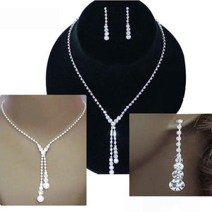 Luxury Clear Jewelry Gift Set Clear Crystal Rhinestone Drop Necklace & Earrings YHS