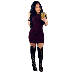 Women Sleeveless Bodycon Evening Party Cocktail Mini Dress