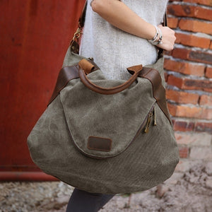 2018 Large Pocket Casual Women's Handbag Shoulder Cross body Canvas Large Capacity