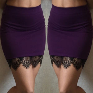 Women's Formal Lace Stretch High Waist Short  Mini Skirt Pencil Dress
