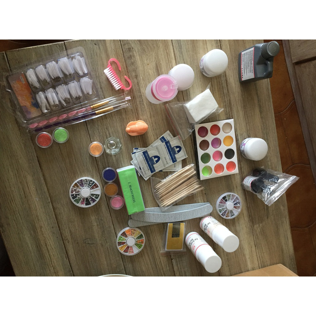 Professional Nail Kit Includes Acrylic Powder,  Polish Remover, Art Brush Cleanser Tips etc.