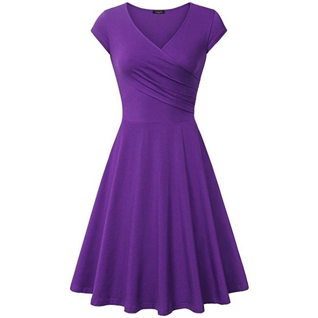 Slim Fit Elegant Women Dress Plus Size Solid Color Flare Dress