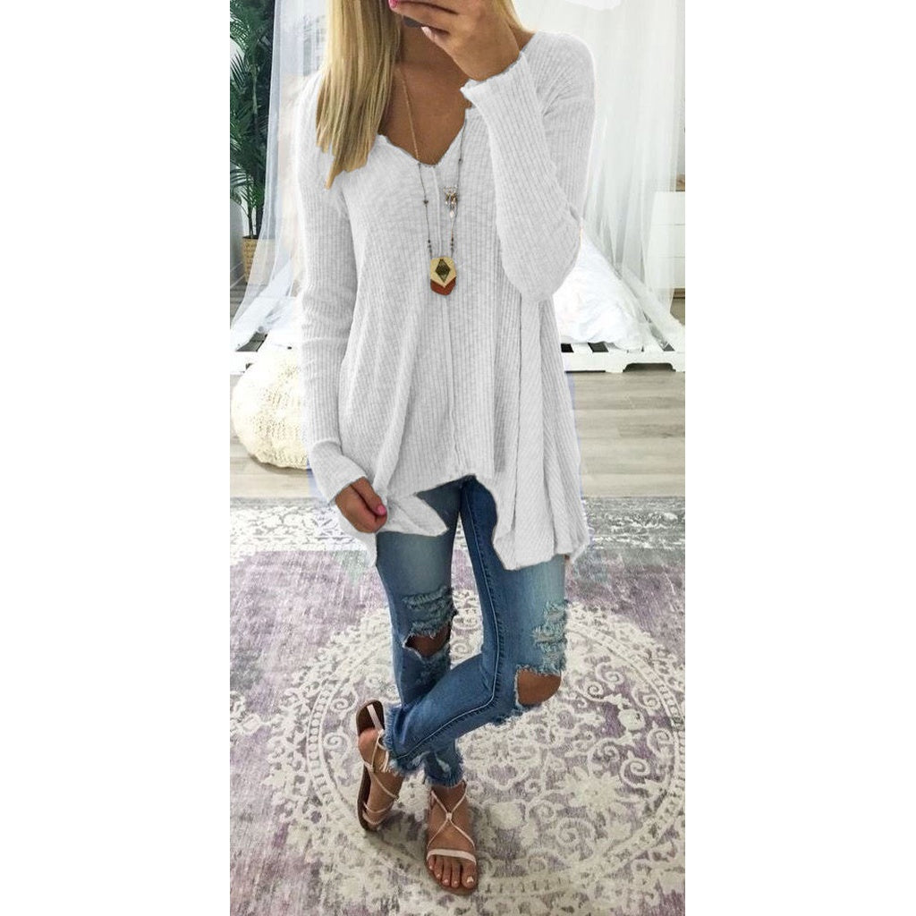 Women Fashion Long Sleeve V-neck Knitted Tops (S-XXXXXL) WZC5609