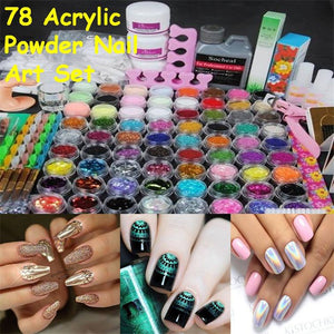 Pro Full 78 Acrylic Powder Glitter Kit  With Art Brush Pump And File Tool Set