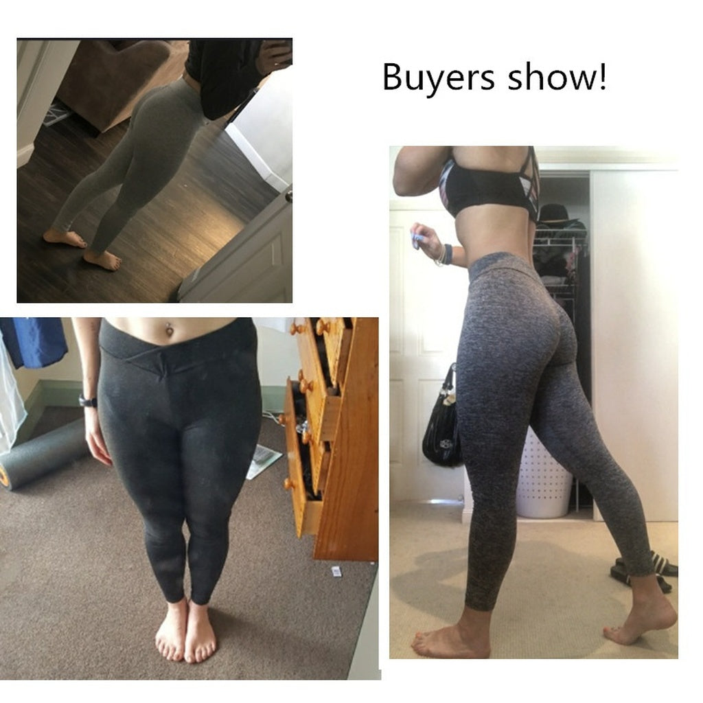 Women Running  Solid Color Yoga Sports Pants Leggings S-Plus Size
