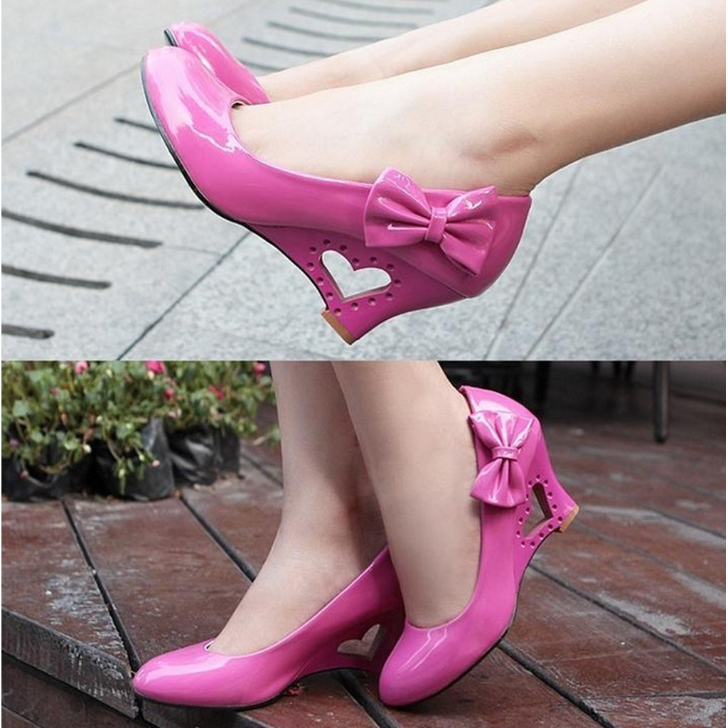 Elegant Sweet Wedge Wedding Women Shoes (US Size 5.5-8.5, White, Black, Yellow, Pink)