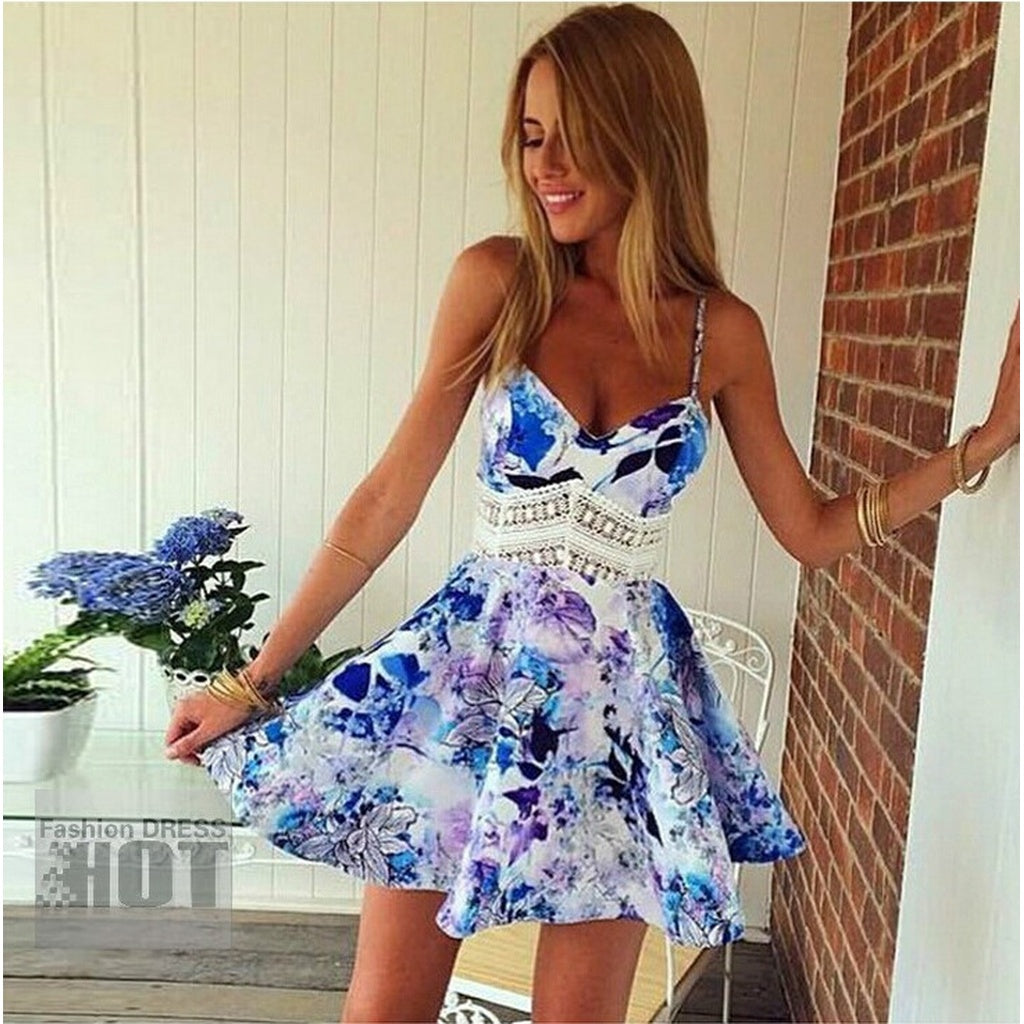 HODMEXI  New Women Casual Print Sundresses,Plus Size Sexy Club Summer Beach Party Midi Tank Dress