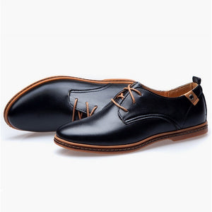 Men's PU Leather Business Shoes (US Size 6-13, Brown, Black)