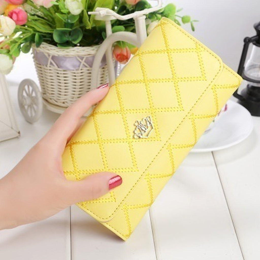 New Fashion Rhombus Pattern Thin Purse Female Metal Hearts Crown Long Wallet