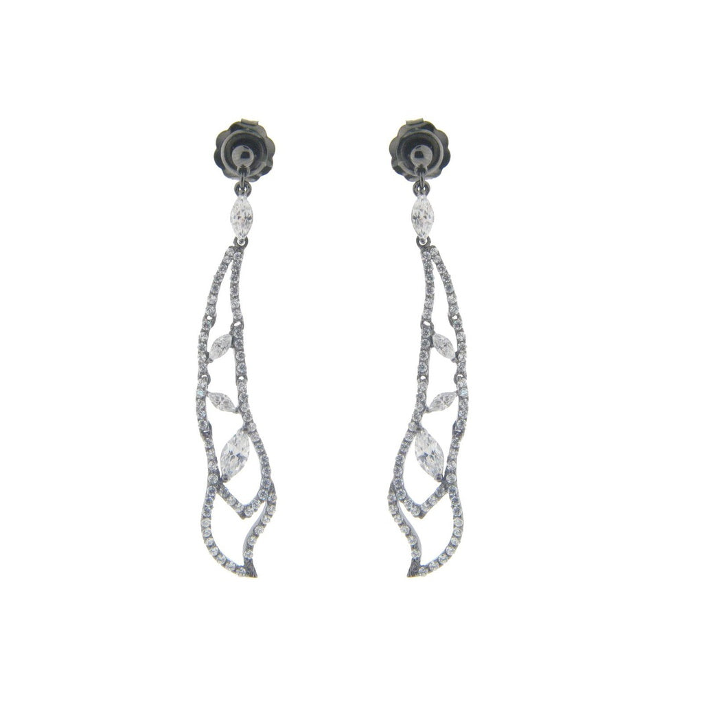 Sterling Black Rhodium Silver Dream Drop Earrings, 2.65""