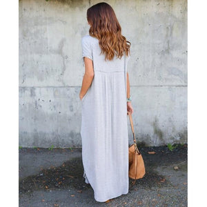 Ladies Summer Soild Color V Neck Split Baggy Pocket Long Dress Full Length