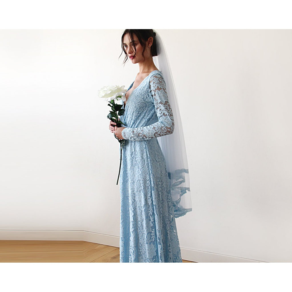 Wedding veil short length - Tulle Veil With Lace Trim 4015