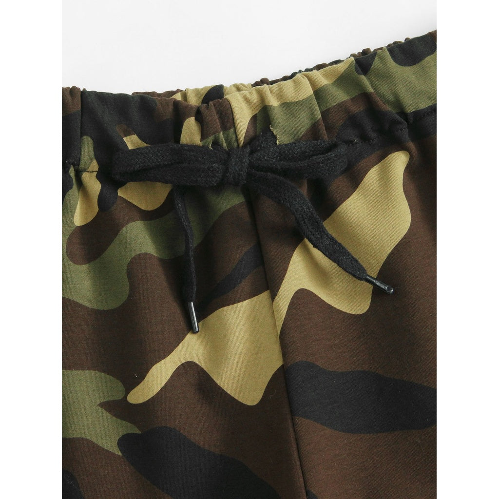 Roll Up Hem Drawstring Waist Shorts