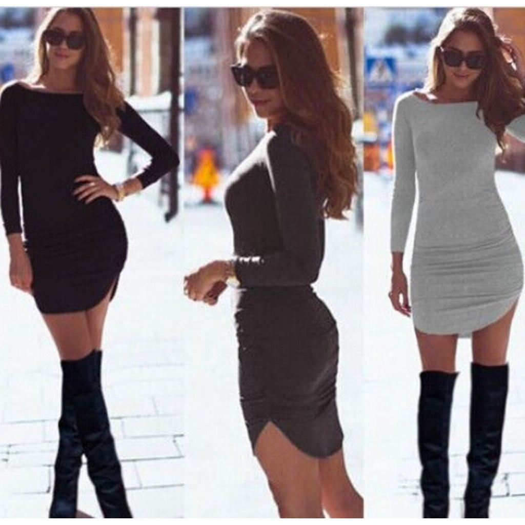 Women Long Sleeve O-neck  Slim Dress
