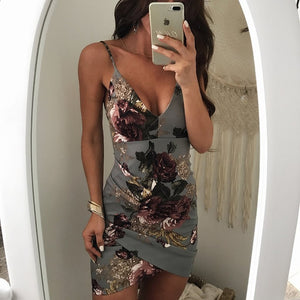 Summer Dress Floral Print Backless Slip Dress