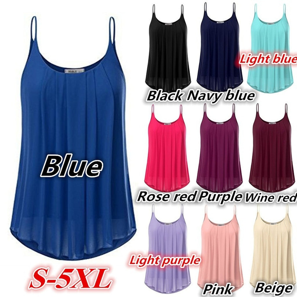 Women's Fashion Plus Size Sleeveless O-neck Pure Color Casual Loose Chiffon Tops WZC6598