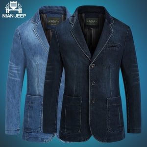 Men's Denim Blazer Casual Outerwear Autumn Winter Loose  XXXXL