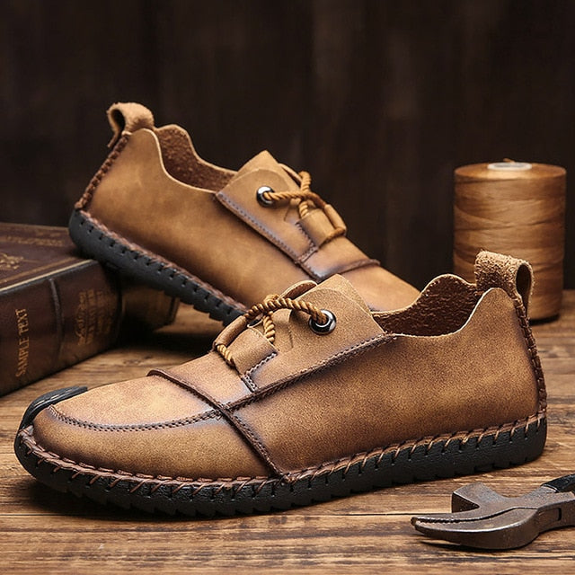 Men's Shoes From Genuine Leather Golden Shoes Male Plus Size 45-46 Sewing Lace-Up PU Sole Cozy Driving Shoes For Men 2019 News