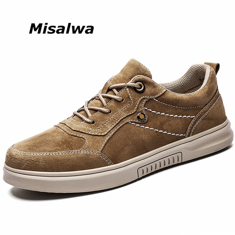Misalwa Original Suede Leather Men's Shoes Spring Autumn Daily Pig Leather Sneakers Young Men Boy Brand Oxford Casual Footwear