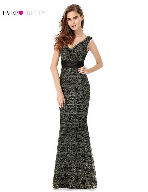 Mermaid Black New Fashion Women's V-neck Sleeveless Long Dress Plus Sizes