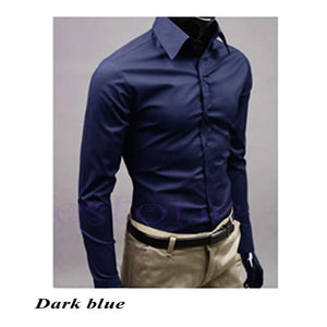 Men 's Fashion Candy Color Long - Sleeved  Casual Dress Slim Fit