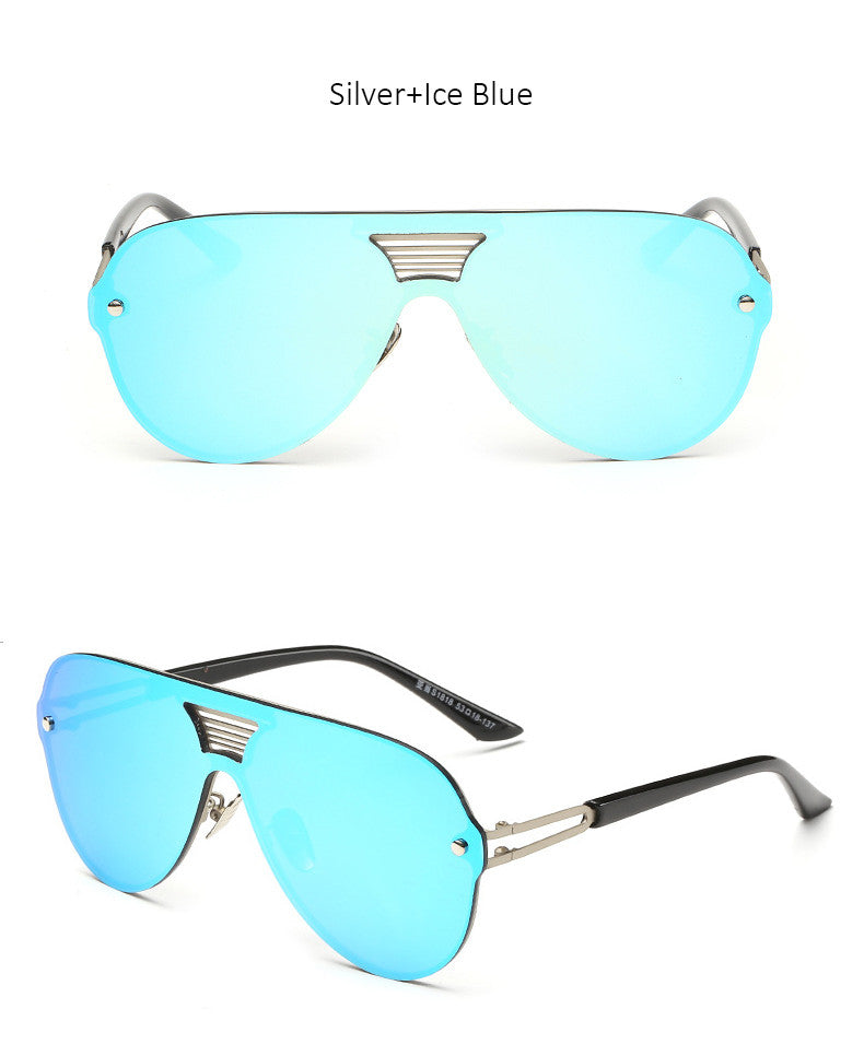 New Shield Designer Rimless Alloy Frame Mirror Sun Glasses For Driving