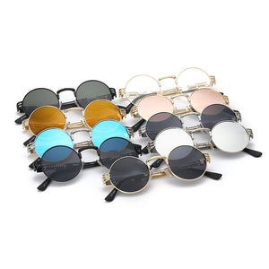 TSHING Gothic Steampunk Sunglasses Men Women Metal Wrap Round  Mirror Shades