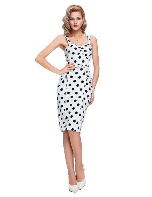Short 50s Cocktail Polka Dot Cotton Party Dresses