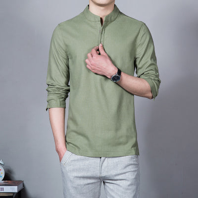 Spring Summer Casual Men Linen Shirt Long Sleeve Solid V Neck Collar Leisure Clothing